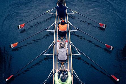 Complexe Teamcoaching zoals bij een roeiteam